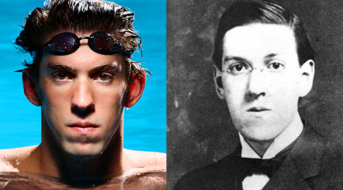 Look-alikes: Michael Phelps (Olympic swimmer) vs. H.P. Lovecraft (Classic Horror and Science Fiction author)