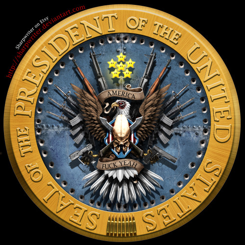 "The Presidential Seal gets a much needed gamer facelift by Jason Heuser! The eagle holding a Halo pistol brought a tear of joy. See more art by Jason here. 11""x 17"" and 24"" x 36"" Presidential prints are available at his Etsy store. Improved Presidential Seal by          Jason Heuser (Etsy) (CGHUB) (Twitter)"