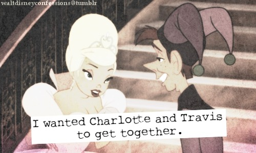"waltdisneyconfessions:  ""I wanted Charlotte and Travis to get together""."