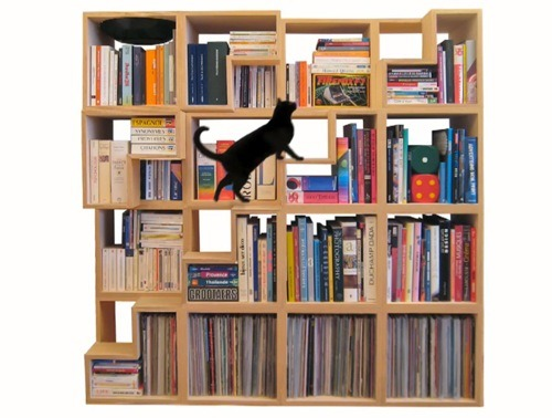 "Cat-Library: A feline-friendly shelving system I'm thinking of building some ""cat stairs"" onto our tallest bookshelf."