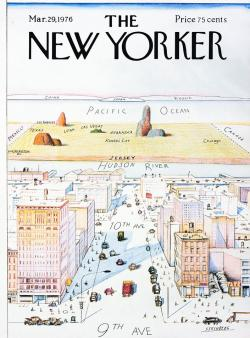"austinkleon:  Saul Steinberg's New Yorker map of the world, New Yorker cover, March 29, 1976  (via) My friend @jndevereux, who now lives in Austin but lived in New York for over ten years, had an excellent rant about ""smug provincialism"" after @kbandersen tweeted the John Updike quote, ""The true New Yorker secretly believes that people living anywhere else have to be, in some sense, kidding."" New Yorkers who celebrate smug incuriosity…I love New York, lived there nearly ten years (through 9/11), etc., but smug provincialism is the most tedious thing about NYC's culture. New Yorkers are never more like the hicks they disdain than when bragging about how they have no interest in other places. And I've lived for years in New York and among hicks, so I know what I'm talking about. It's like the famous Steinberg poster, which I read as slightly barbed satire, but some people seem to think is a guide to right thinking. I got angry when people in NYC would tell me ""only tourists look up at the buildings."" ONLY A BUFFOON IGNORES THE BUILDINGS! LOOK UP! It always bugged me: you live in a fantastic city, but you're supposed to act bored about it and the world? F that! In short, celebrate curiosity and cosmopolitanism, not narrowness. I love you, NYC."
