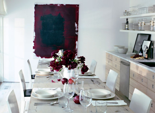 I silently gasped when I saw this image - the deep, rich red of the painting is stunning but without the flowers and apples in the matching hue, it wouldn't be the same.  STUNNING!