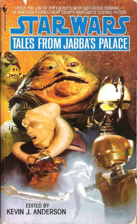 "Tales from Jabba's Palace edited by Kevin J. Anderson (1995, Bantam) If you've read Tales from the Mos Eisley Cantina or Tales of the Bounty Hunters (or at least my reviews of those volumes), you can probably guess at what you'll find in Tales from Jabba's Palace. This is the second of three books featuring short stories by a variety of authors about incidental or background characters from the films (I chose to review them in chronological, rather than publication, order).  This collection contains nineteen stories and comes in at 420 pages. Because discussing each of these stories in depth would make for a very long review that would take a very long time to write—and because I should really be doing schoolwork right now—I'm going to go over what I consider to be the highlights and then talk about the collection as a whole.    I haven't read a ton of Kevin J. Anderson's work; only the stories in these Star Wars anthologies and a Starjammers mini-series he wrote for Marvel back in 2004. In general, I've found that body of work to be perfectly readable, but nothing earth-shattering. While I wouldn't call ""A Boy and His Monster: The Rancor Keeper's Tale"" an ""earth-shattering"" story, either, I would call it the best example I've seen of Anderson's writing and one of the better stories in this anthology. He quickly makes Malakili sympathetic through his compassion for the rancor, and even engenders some sympathy for that vicious monster in the process. Anderson really made me want Malakili's plan to escape Jabba's palace with the rancor to succeed, despite knowing all along that it was doomed to failure.    This ridiculous creature has long been a favorite among my friends. I saw Return of the Jedi for the first time over a decade and a half ago, but I still can't look at Salacious Crumb without, at the very least, an amused smirk. My pal Chris does a near spot-on imitation of Crumb's cackle; perhaps I'll record him doing it and put it up sometime if he's amenable.  Anyway, Esther M. Friesner's ""That's Entertainment: The Tale of Salacious Crumb"" follows a stodgy professor called Melvosh Bloor who is seeking an interview with Jabba the Hutt for an academic paper on the crime lord. Instead of meeting with his arranged contact, however, Bloor runs afoul of everyone's favorite Kowakian lizard-monkey, and sadistic—and highly amusing—antics ensue. The story functions as a wonderful satire on the politics of academia.    Timothy Zahn is possibly the only expanded universe author to create a character whose name is known even to many casual Star Wars fans. While I wish that were the case with more EU characters, Mara Jade is certainly worthy of her notoriety. In ""Sleight of Hand: The Tale of Mara Jade,"" the Emperor's hand is dispatched by her master to Jabba's palace in order to kill Luke Skywalker (what else?). A number of circumstances conspire to rob Mara of her goal, but at least she gets to see her future husband and current assassination target kill Jabba's rancor.  Tales from Jabba's Palace was published before the Return of the Jedi Special Edition was released, so my arch-nemesis, Joh Yowza, is blessedly absent from the line-up of the Max Rebo Band in the somewhat redundantly titled ""And the Band Played On: The Band's Tale.""    John Gregory Betancourt gives the reader an entertaining band dynamic on par with that presented in Kathy Tyers's story about Figrin D'an and the Modal nodes in Tales from the Mos Eisley Cantina. Sy Snoodles is actually the brains of the outfit, Snit (A.K.A. ""Droopy McCool"") is the quiet one, and Max loves to eat. It's a lot of fun.    ""Of the Day's Annoyances: Bib Fortuna's Tale"" is notable not only for its exploration of the Twi'lek Bib Fortuna, Jabba the Hutt's Machiavellian scumbag of a majordomo, but also of the B'omarr monks, a religious order dedicated to seeking enlightenment through the shedding of their bodies. To this end, their brains are extracted and placed in droid walkers. M. Shayne Bell weaves a gritty tale of cloak-and-dagger intrigue as Fortuna attempts to use the monks to further his own ends, only to have the tables turned on him. There are a number of twists that keep things interesting, and I found the story's conclusion extremely satisfying.    Several of the stories in this collection revolve around, or at least mention, a series of killings in the palace by an unknown culprit with no conclusive motivations. I was quite pleased to discover that the killer was Dannik Jerriko, the pipe-smoking Anzati brain-vampire from the Mos Eisley Cantina. Jennifer Roberson, author of the Dannik Jerriko story from Tales of the Mos Eisley Cantina returns here to write ""Out of the Closet: The Assassin's Tale,"" which mostly consists of Jerriko prowling around and pontificating on various qualities of ""soup"" (that is to say, ""brains"").  Han Solo, whose soup Jerriko has been craving for four years now, slips through his fingers again, and he throws a tantrum, killing several folks at the palace. What surprises me is that this is the last we hear of him. I love this guy, and really wish somebody would use him in a book. I wanna see him and Han throw down, dammit!    J.D. Montgomery has the distinction of chronicling Boba Fett's triumphant escape from the Sarlacc pit in ""A Barve Like That: The Tale of Boba Fett."" This gets a little more metaphysical than one might expect in a story about Fett. The bounty hunter, trapped and temporarily paralyzed, speaks to the Sarlacc's first victim and now controller, Susejo, and other still-(quasi)living people who had also become Sarlacc snacks. The story's narrative structure is built around long conversations between Boba Fett and Susejo and the mournful testimonies of other Sarlaac victims, including a millennia-old Jedi.     The denizens of Jabba's palace are less interesting to me than those of Chalmun's Cantina in Mos Eisley. This may be in part because of the simple fact that the camera's eye lingers on the bar patrons in A New Hope longer than it does on the creatures found in Jedi. Nevertheless, this book has a sense of cohesion among the stories, references to this volume's predecessor, and some very funny moments and ideas (see ""The Great God Quay: The Tale of Barada and the Weequays"") to its credit. This collection is a worthy entry in the Tales series, despite not being quite as good as its two trilogy-focused counterparts."