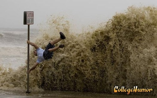 Hurricane surfing.