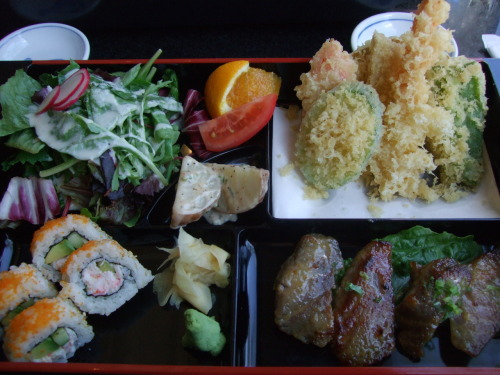 My dream lunch : a delicious bento box. This one was eaten at Sushi Den with a dear old friend.