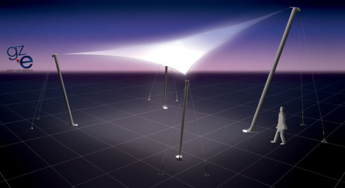 rendering of URBAN PUBLIC LIGHTING TENT PROJECT (based on fabric lightbulb reLIGHT concept)