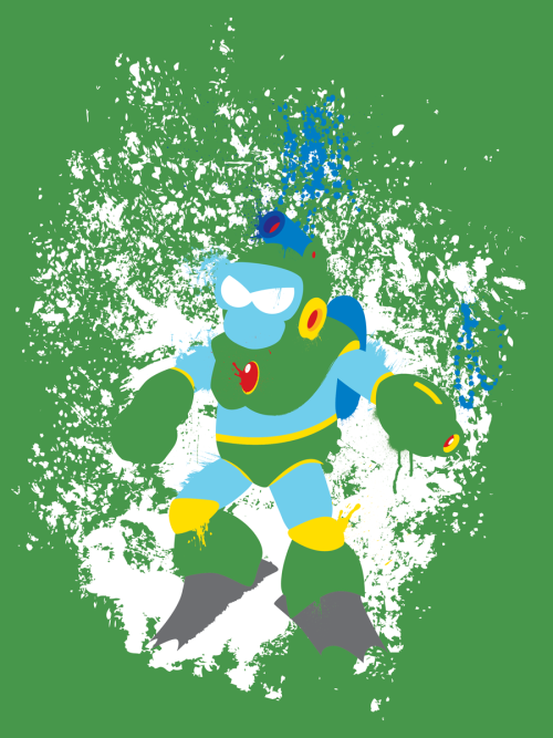 the-daily-robot:  New Bubble Man shirt design available over at RedBubble!  Part of an ever-expanding series of (mostly) classic Mega Man art.