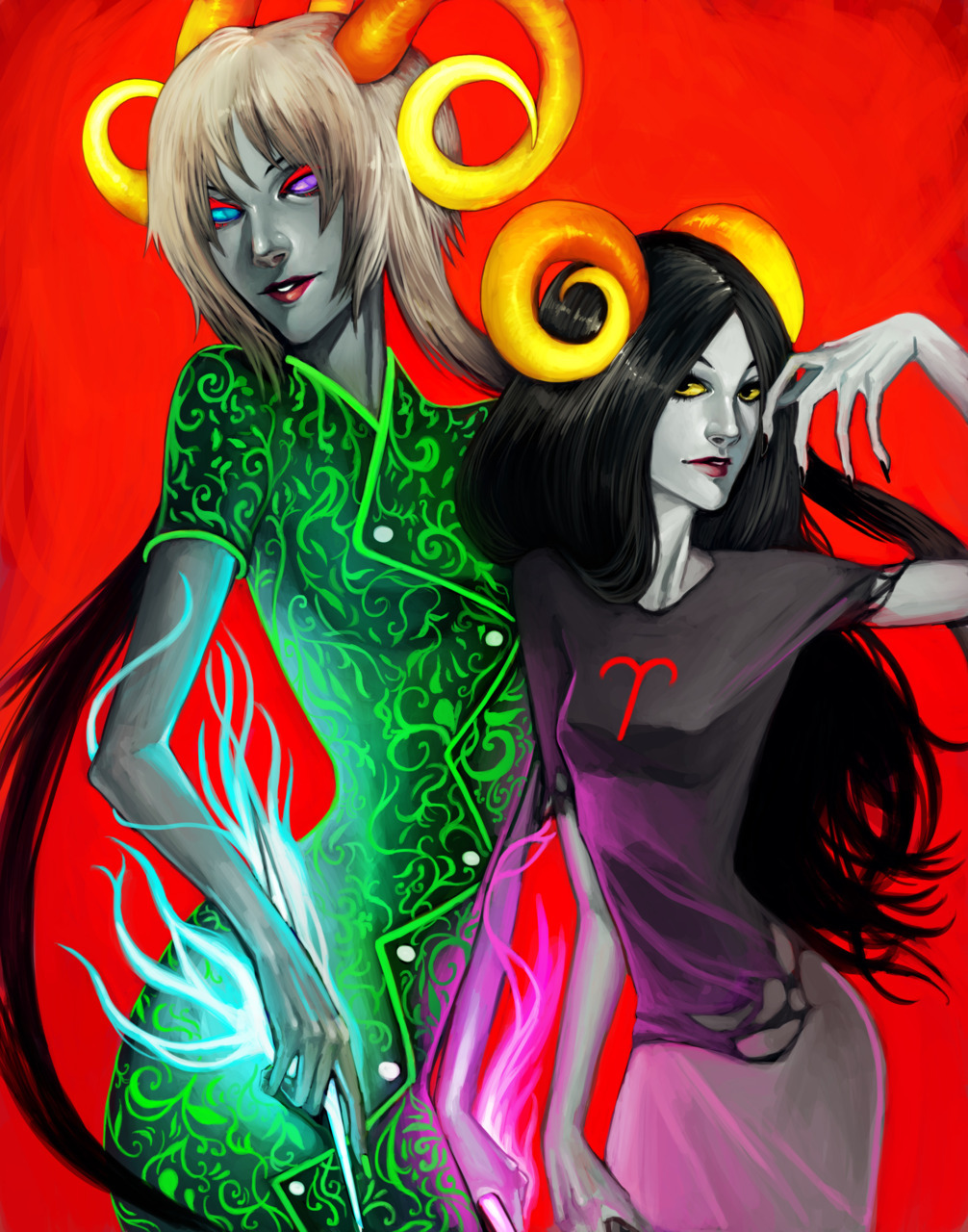 sexbucket:  yapoos:  yoyonaki:  IM DONE DONE!!!! the Handmaid and Aradia (next is the Sufferer and Karkat)  oh cool this is absolutely stunning  Wow! This is beautiful!