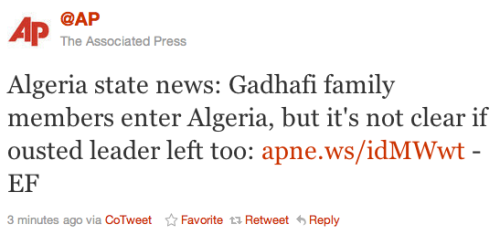 Time to take bets: Did Gaddafi leave to Algeria with his family? Throw your money down, guys.