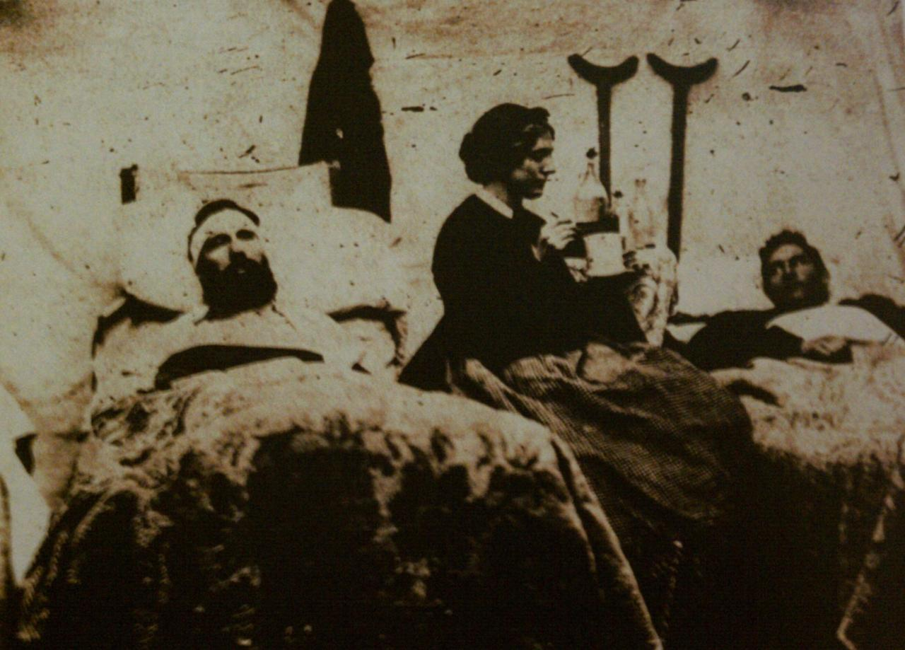 theearthanditsskin:  A photograph of Anne Bell tending to wounded soldiers in a federal hospital, Nashville, Tennessee, ca. 1863 provided by the US Army Center of Military History