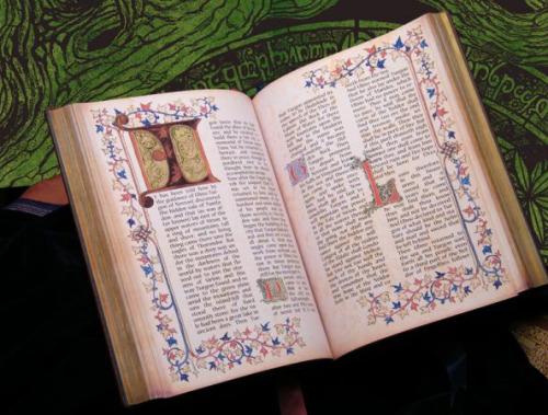 "Handmade copy of The Silmarillion (Edel-Silmarillion) created by Benjamin Harff  TL: I wanted to talk to you about the Deluxe edition of the Silmarillion you created. what prompted you to make it? BH: I created the deluxe-Silmarillion for my exam at the Academy of Arts. My first idea was to create illustrations for the Lord of the Rings, but I realized that the films had left a too strong impression upon me, so I could not work free. So I decided to illustrate the Silmarillion. The calligraphy was first planned to be reduced to one single initial for each chapter. So I studied the ""History of Middle-Earth""-books as well as the Letters of J.R.R. Tolkien and especially his works as an illustrator, which give many indications about his imagination of Middle-Earth that cannot be derived from written words. I also tried to find out what inspired him lyrically and visually and I think you can put that into one word: nature. It is obvious that Tolkien was also a lover of calligraphy, especially medieval. In the book ""J.R.R. Tolkien – Artist and Illustrator"" I found a hint about a book concerning calligraphy Tolkien had read. So I bought the same book and worked it through. That was the point where I had more and more fun in doing medieval calligraphy and finally I had to make a decision: Illustrations OR calligraphy. This was not easy, because I had made very excessive preparations for the oil-paintings, but my time was so short, that I could not do both. I do not regret my decision, because I have made my exam now and there are still tons of studies and prepared wood-plates waiting for paint. One study in pencil I put along with these words, they show the taking of Arathorn by the Hill-Trolls.  Here's a link to the full interview. PS This book is gorgeous and I want it."