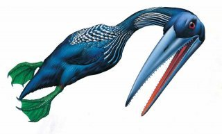 Hesperornis (Western Bird) was one of the largest birds of the age of dinosaurs. On land, it would have moved much like how penguins do today, not waddling mind you, but scooting along on its belly. It may have nested on isolated islands, or live birthed in the water. It's webbed feet that faced backwards were ide3al for swimming and diving. It may have been one of the greatest (most well-adapted) predators of the ocean. It had many sharp teeth for gripping prey, a feature lost to birds after the mesozoic (excepting the occasional retroactive gene.) It could not fly, ans would be about the same size as an average sized man. It can be found in the North American Inland Sea, theTurgai Straight, and the North Sea regions in North America.