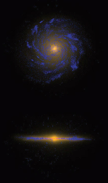 Astrophysicists have finally simulated an entire galaxy. It only took nine months of computing to do it, too! We were talking about how spiral galaxies form the other day, and simulations like this are key to checking our understanding of the processes behind the Milky Way and others. Essentially, they take all the applicable laws of physics and astronomy, dump them in a computer, let it build a galaxy and see if it matches what we see in real life. I'd say they did pretty well! (via UCSC)