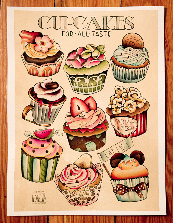 vectorink:  Cupcake set is done! :) Enjoy following flavours: 1. Chocolate-bacon  with Maplesyrup. 2. Pistacchio with rosewater frosting 3. Oreo 4. Mocha-brownie with cream topping and plumsauce 5. Classic strawberry 6. Peanut popcorn 7. Watermelon Punch 8. Banana & raspberry with chocolate sprinkles 9. Dark chocolate topped with blood orange baiser