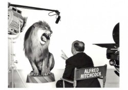 Just Hitchcock directing the MGM Lion -by Clarence Sinclair Bull, 1958