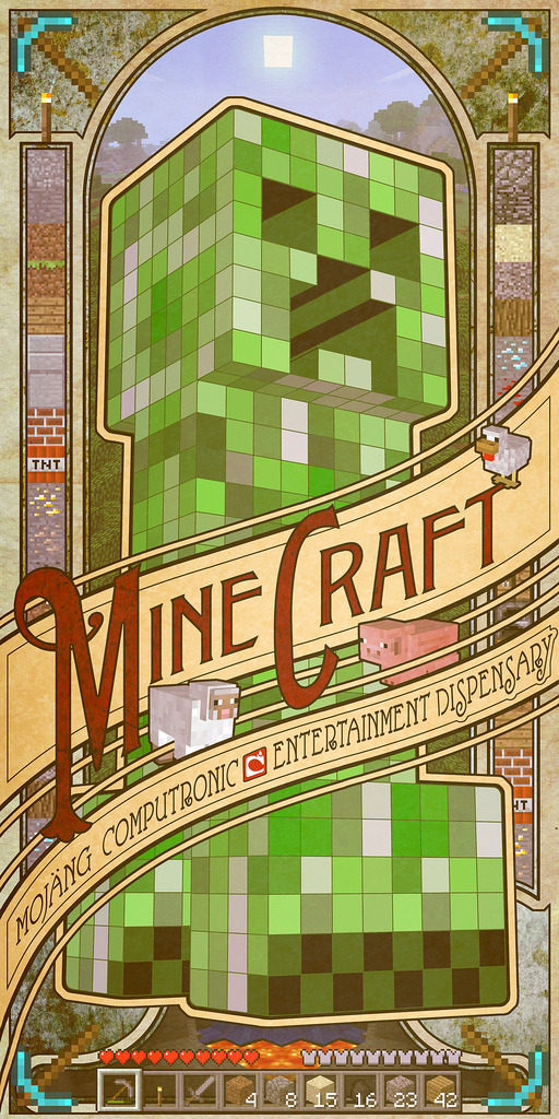 m1n3cr4ft:  an amazing minecraft poster by mudron