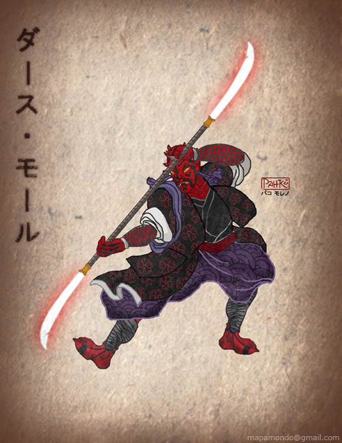 Darth Maul Ronin Sith (old Japan Print style)