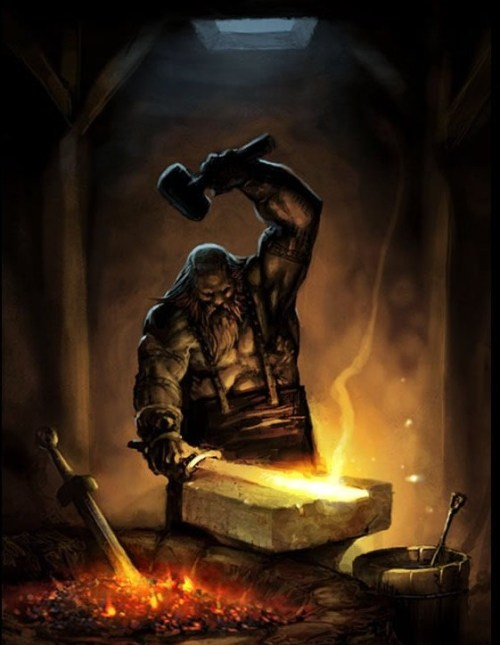 tatteredbanners:  In Norse mythology Dwarfs were highly skilled craftsmen who were experts at smithing and crafting. The hammer, belt and gauntlets of Thor where all made by the dwarfs.
