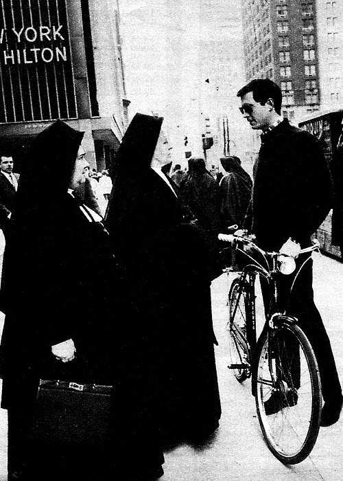 jewahl:  Anthony Perkins chatting up some nuns, New York City, early 60's.