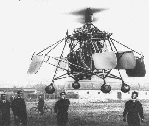 the first flight of Oszkár Asbóth's helicopter, Hungary, 1928 (yes, those are footballs)