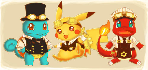 justinrampage:  A few of the Pokemon troops dressed up in Steampunk attire before heading into battle. Fun new fan art illustration by artist Elliot Dombo. Steampunk Pokemon by Elliot Dombo (deviantART) (Twitter) Via: steampunkxlove | deviantART