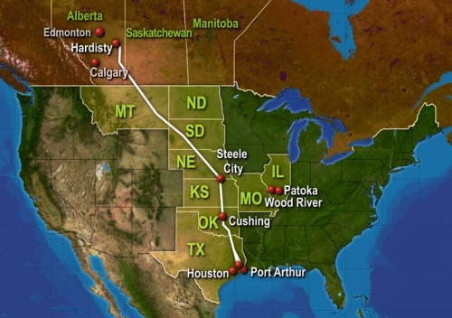 newshour:  A map of the proposed Keystone XL, also called Tar Sands, pipeline. It could carry crude oil some 1,700 miles from Alberta, Canada, to the Gulf Coast in Texas. A friendly and safe new source of oil for the U.S. or an environmental disaster waiting to happen?