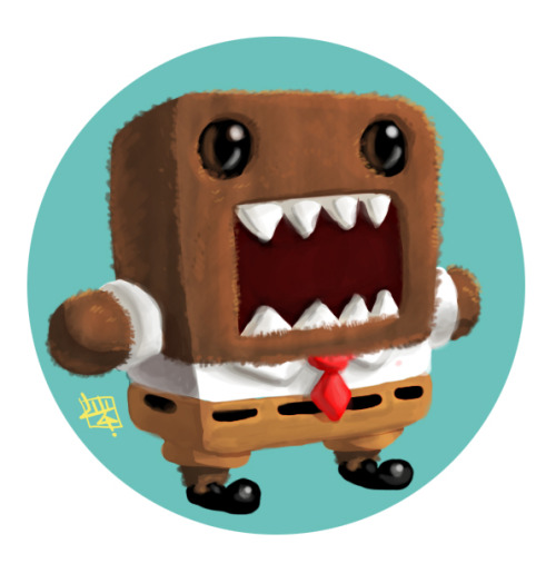 angeloandreegallegosarrazola:  Whoooo lives in a tunnel under the ground DOMO SQUAREPANTS! and is big, fluffy, and brown! DOMO SQUAREPANTS!  Domo noms…Spongebob Then becomes Spongebob 0_0