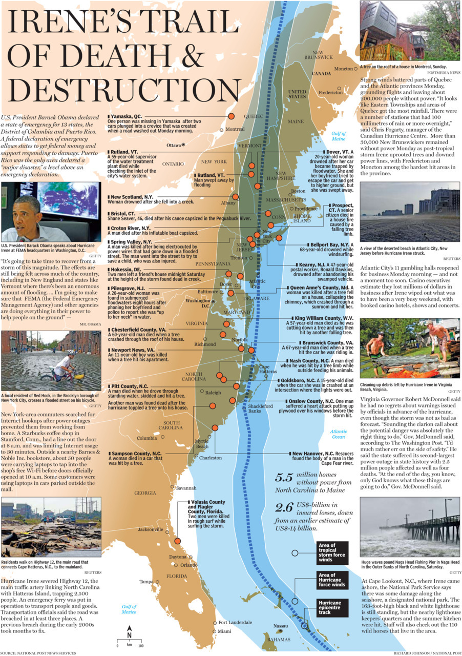 Over the weekend hurricane Irene wrecked havoc across the east coast of  the United States and Canada. Below, a graphical look at the damage and  death. Click the image for a larger version or click here for the PDF.