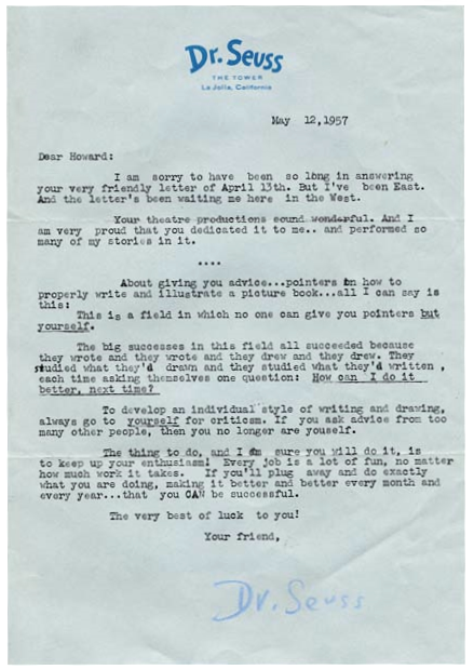 A letter from Dr. Seuss (discovered via lettersofnote)