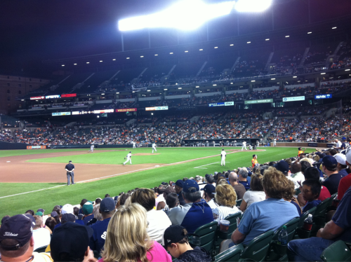 First game at Camden Yards, vs. the Yanks. Field level, yo.