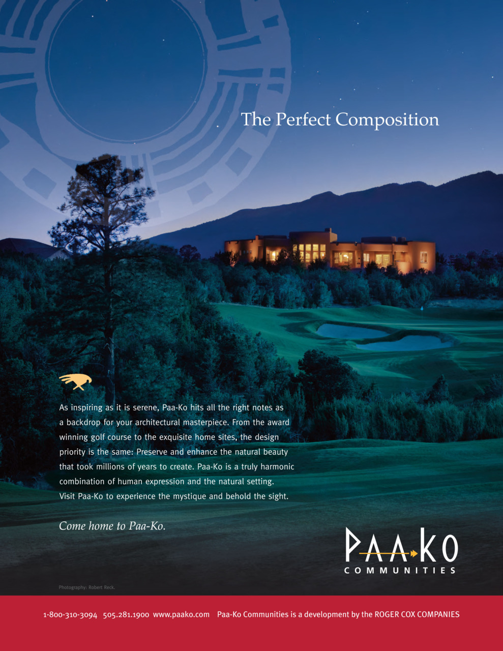 This is my photo, used in an ad for Paa-ko Golf Communities. It ran in the 2011 Santa Fe Opera program. All work on this image was accomplished in Photoshop.  There are no gross adjustments or manipulations here but  simply the layering of information accumulated in various exposures over  time.  Because we are familiar with 'day for night' from  the film and video world, I shot the raking sunlight at the end of the  day first, then the lit house, then shot the sky and finally the stars.   Each was composited together while changing the warm sunlight to a cool  moonlit look to add drama and articulate the golf course.