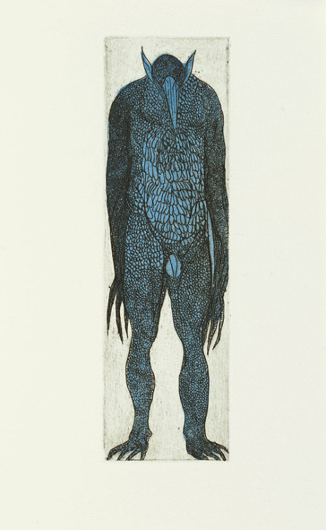 iseesigils:    Color etching of a demon from A Book of Demons (2001) – Leonard Baskin (1922–2000)