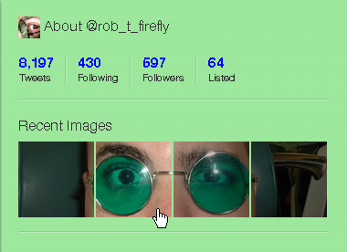 Stupid Twitter trick:1) Crop an image down to 338x83px (or a multiple thereof.)2) Slice it out into four 83x83px blocks with 2px gaps in between (or your multiple thereof.)3) Tweet the images via Twitter's internal photo-uploading gadget, from right-to-left.4) ???5) Profit!