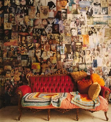 My Bohemian Home ~ Living Rooms My sweetie wouldn't go for it, but I'd love to have an inspiration wall like this!