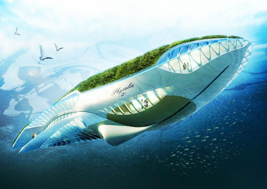 Vincent Callebaut, visionary behind the Lilypad and Dragonfly,  has created a whale-shaped floating garden designed to drift through  the world's rivers while purifying their waters.  Read more:  Whale-Shaped Floating Garden Cleans the World's Rivers | Inhabitat - Green Design Will Save the World