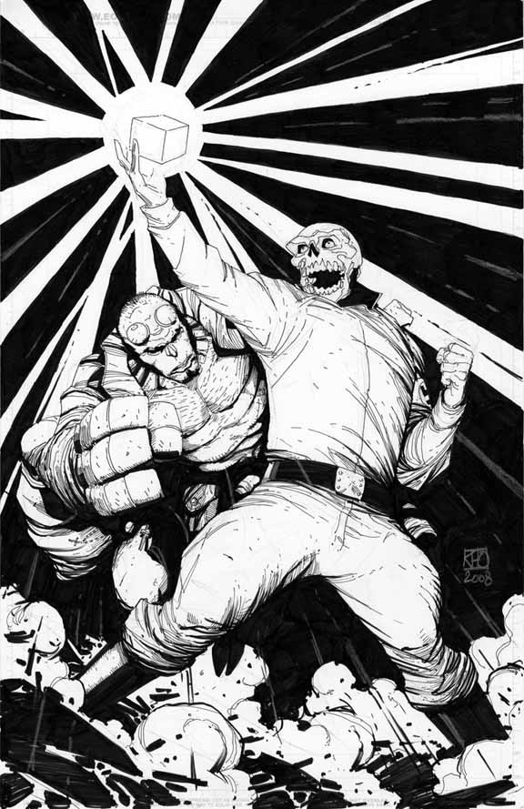xombiedirge:  Hellboy Vs. Red Skull by Khoi Pham