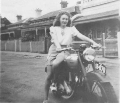 June Evans on a BSA motorcycle on Mary Street in Coburg Victoria 1945
