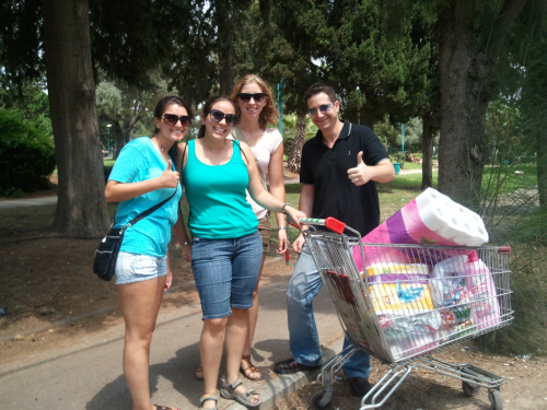 From left to right- me, Rachel, Suzanne, and Nir after grocery shopping.