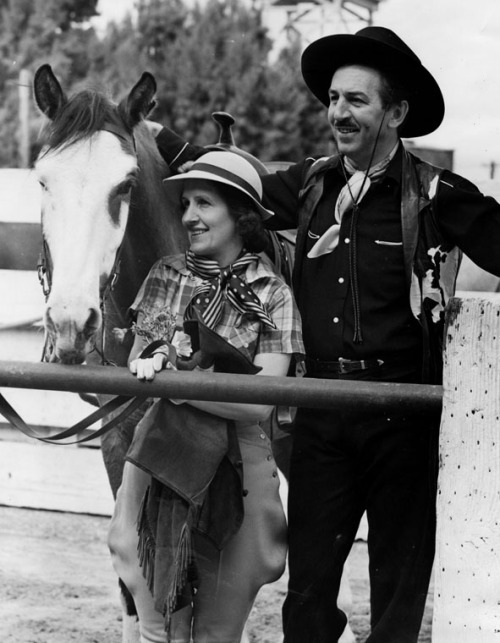 Lillian and Walt Disney on vacation at the B-Bar-H guest ranch in Palm Springs, CA - 1948