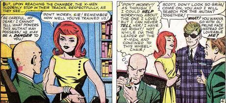 "Classic X-Men FTW kalinara:  I have many thoughts about these panels: 1) That suit is even worse up close. 2) Jean's expression is great.  It's totally ""Oh…oh honey.  We can fix this!  And even if we can't, it'll look much better on my bedroom floor…after I burn it."" 3) Xavier's monologue is creepy.  But it's funnier because Jean doesn't seem to notice he's even in the room.  Also he has a pipe and all monologues are better with pipes. 4) ""Ol' Prune Face"" is mean, yet pretty accurate.  Scott looks like he wants to bolt. (Uncanny X-Men #3)"