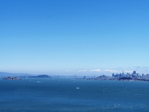 The view of San Francisco from the Golden Gate Bridge.