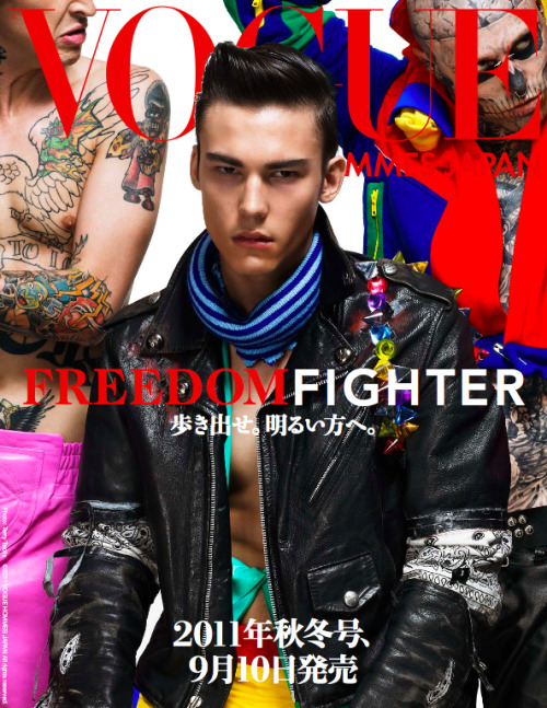 nicolaformichetti:  vogue hommes japan preview cover photo terry tsiolis fashion nicola formichetti models chris colton (red), bradley(red) ,rick genest the issue out sept 10.   must buy !!