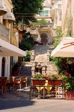 | ♕ |  Old alley in Taormina, Sicily  | by © jellicle_kitten | via ysvoice