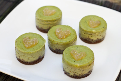 Mini Green Tea Cheesecakes: Click the picture for the recipe! I love the little heart on top! So Cute :)