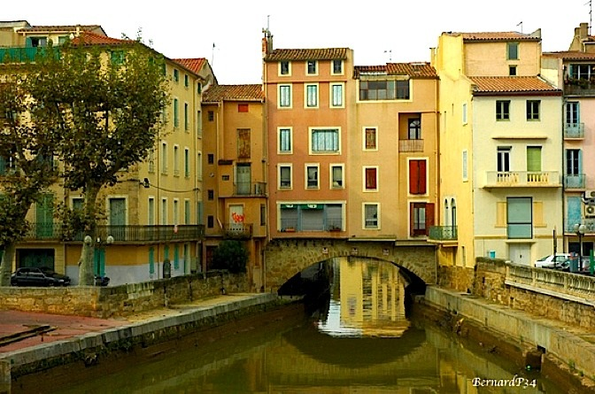 | ♕ |  Bridge houses in Narbonne, France  | by © BernardP34