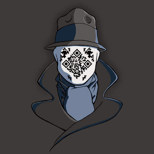 "zuppadivetro:  justinrampage:  Rorschach is back and more deep in thought than ever! David Eberhardt's working Watchmen QR code shirt design in now up for vote at 604Republic. Try out the QR code on your smart phone: ""H U R M…"" QRorschach by David Eberhardt (RedBubble) (Facebook)  -"