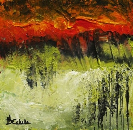"Canvas abstract art  I call it ""volcano"", textured brush strokes.   (If you are interest in it, inquiry price at xiamen1986@gmail.com)"