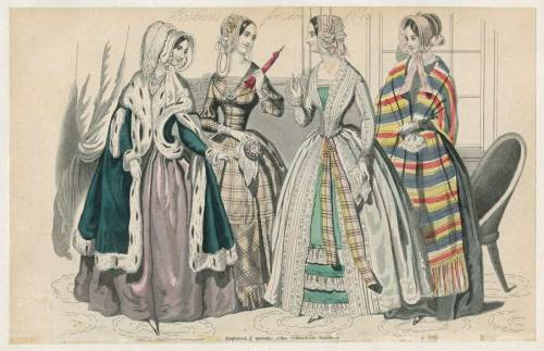 Columbian Magazine, January 1845.  Oh I love the plaid one!  The bias-cut panel on the bottom is great!  That green cloak is pretty gorgeous, too!