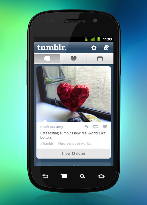 staff:  Tumblr Android 2.0: Now available on the Android Market Android users, say hello to the new Tumblr app, rebuilt from the ground up! We hope you'll enjoy the updated features, including:   New interface: A total redesign centered around Android's hardware and software. Manage multiple blogs: It's now a simple swipe to access your different blogs and manage your drafts, queue and followers on-the-go. Create a post:  We've highlighted posting to Tumblr so you can share text, images, links, chats, quotes and videos whenever you want.   Messages: View and reply to messages for each of your blogs. Address book: Find people to follow from your phone's address book. New users: Sign up right from the app. Bonus: For quick sharing, you can post anything from your home screen via the Tumblr widget. Go ahead and grab it on the Android Market!  He