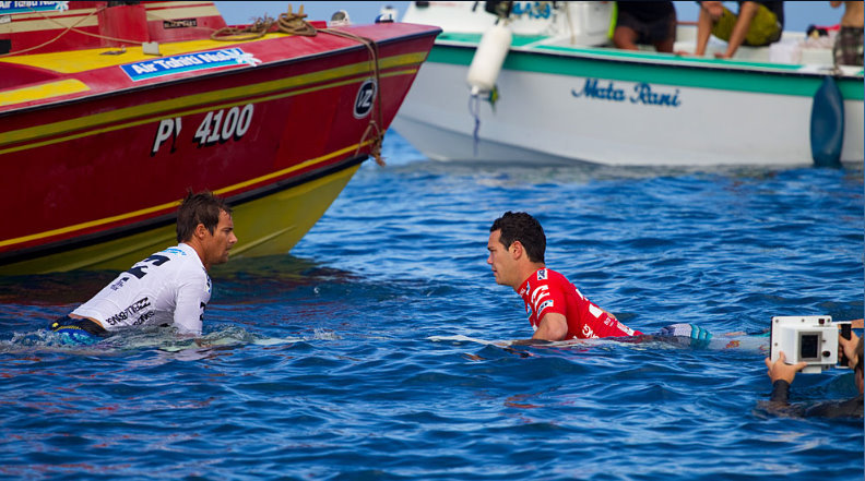 Travis logie (ZAF) and Jordy Smith (ZAF)  - Billabong PRO tahiti 2011